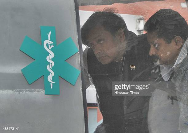 Union Minister Ghulam Nabi Azad coming out from the cardiac department at All India Institute of Medical Sciences after meeting Congress leader...