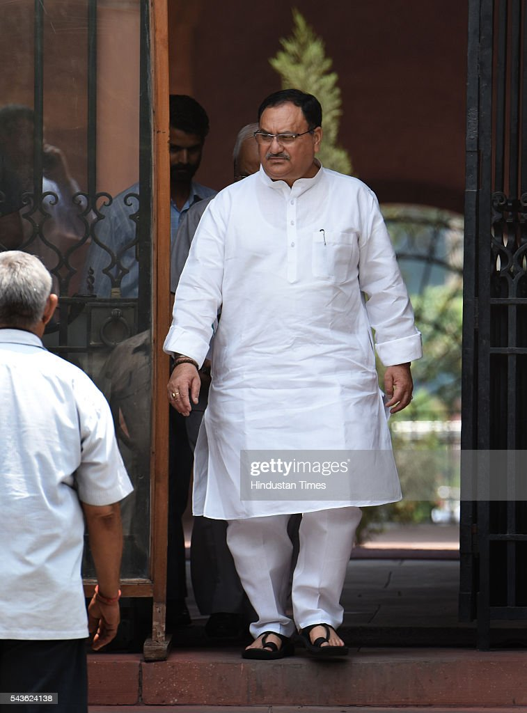 Union Minister Jagat Prakash Nadda coming out after attending the Cabinet Meet at South Block, Raisina Hills on June 29, 2016 in New Delhi, India. The Cabinet, headed by Prime Minister Narendra Modi cleared the recommendations of the 7th Pay Commission according to which the overall hike in salary and allowance of central government employees and pensioners comes to 23.5 percent.