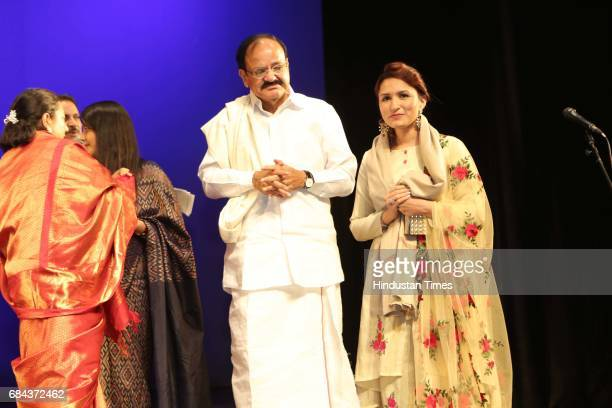 Union Minister M Venkaiah Naidu and Aashmeen Munjaal during the Kuchipudi Rangapravesham of Atisha Pratap Singh daughter of Union Minister Rajiv...
