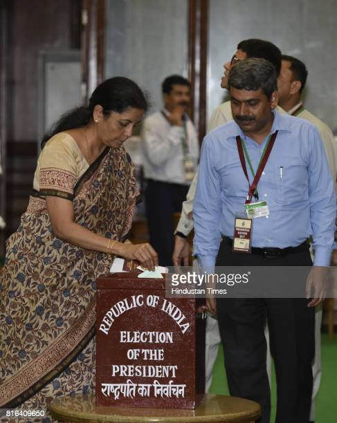 Union Minister Nirmala Sitharaman casts her vote during the presidential election at the Parliament House on July 17 2017 in New Delhi India Approx...