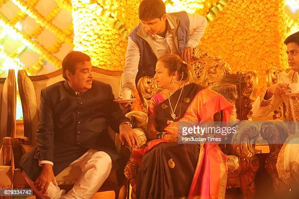 Union Minister Nitin Gadkari and his wife Kanchan Gadkari during the wedding reception of their daughter Ketki and Aditya Kaskhedikar on December 8...