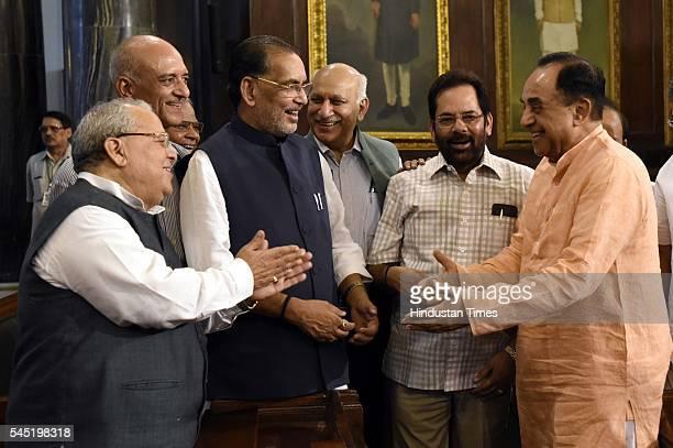 Union Minister of Agriculture and Farmer Welfare Radha Mohan Singh with Minister of Micro Small and Medium Enterprises Kalraj Mishra BJP Rajya Sabha...