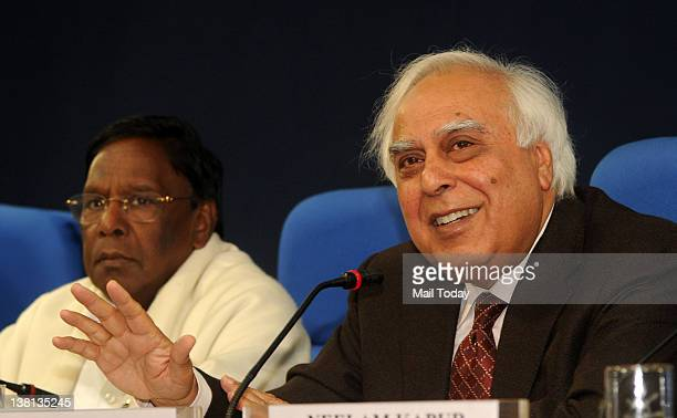 Union Minister of Communications and Information Technology Kapil Sibal addresses a press conference in New Delhi on Thursday after the Supreme...