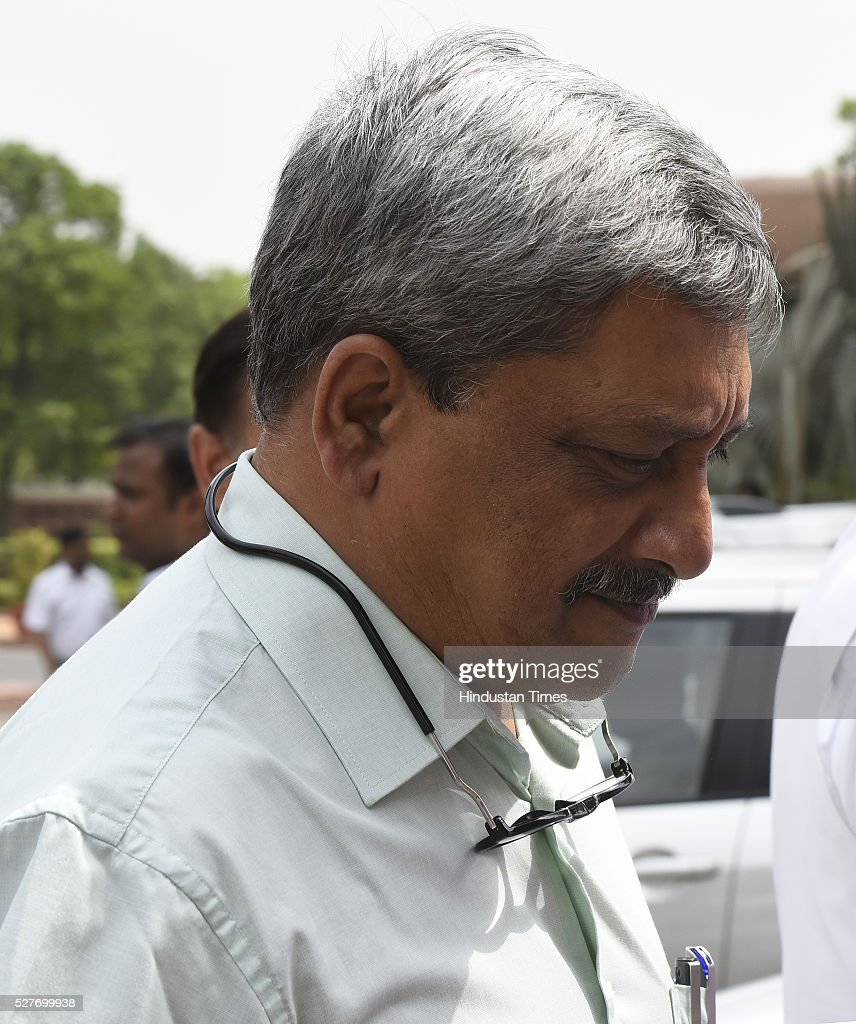 Union Minister of Defence Manohar Parrikar after attending parliament Session on May 3, 2016 in New Delhi, India. With the BJP mounting an offensive against Congress vice-president on the AgustaWestland VVIP chopper bribery case, Rahul Gandhi on Wednesday said he is happy to be targeted.