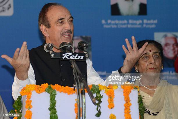 Union Minister of Health and Family Welfare Ghulam Nabi Azad delivers his address while Union Minister of State for Health Santosh Chaudhary looks on...