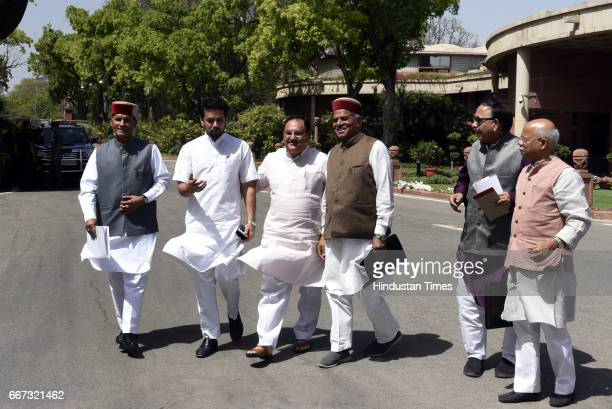 Union Minister of Health and Family Welfare Jagat Prakash Nadda with Lok Sabha MP from Hamirpur in Himachal Pradesh Anurag Thakur and other Himachal...