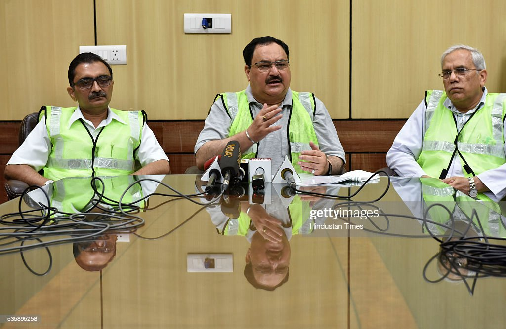 Union Minister of Health and Family Welfare JP Nadda address media at AIIMS during his visit to review the activities under Kayakalp initiative on May 30, 2016 in New Delhi, India. The minister had taken stock of the sanitation and hygiene practices in place at the premier health institute as part of the Kayakalp Fortnight launched in line with the Modi governments Swachch Bharat Abhiyaan. The Fortnight will be observed throughout the country in various central government hospitals till 3rd June.
