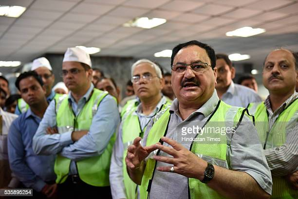 Union Minister of Health and Family Welfare JP Nadda visits AIIMS to review the activities under Kayakalp initiative on May 30 2016 in New Delhi...