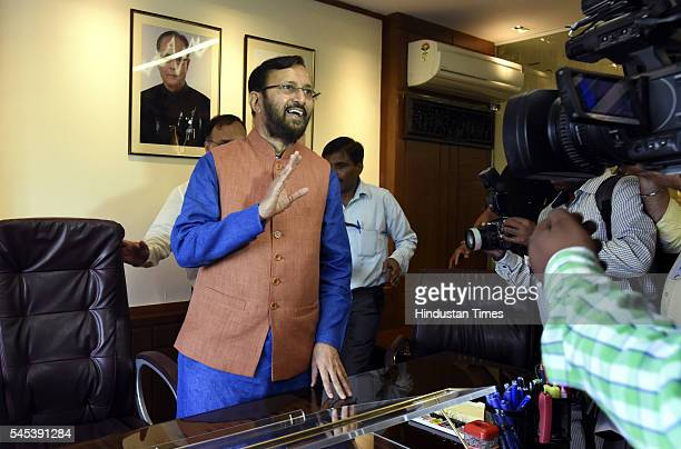 Union Minister of Human Resource Development Prakash Javadekar taking charge of the Ministry of Human Resource Development at Shashtri Bhawan on July...