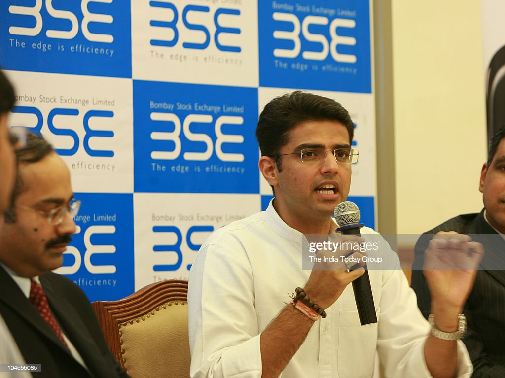 Union Minister of state for Communication and Information Technology <a gi-track='captionPersonalityLinkClicked' href=/galleries/search?phrase=Sachin+Pilot&family=editorial&specificpeople=5839798 ng-click='$event.stopPropagation()'>Sachin Pilot</a> answers media person's at the Bombay Stock Exchange (BSE) in Mumbai on Tuesday, September 28, 2010.