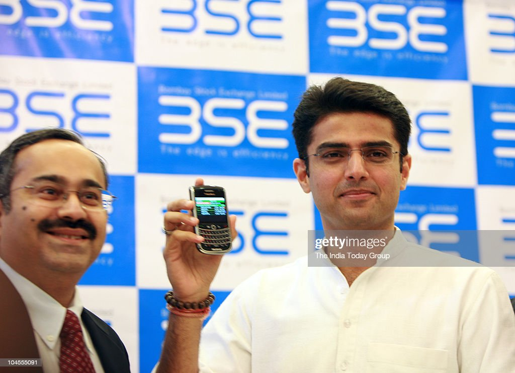 Union Minister of state for Communication and Information Technology <a gi-track='captionPersonalityLinkClicked' href=/galleries/search?phrase=Sachin+Pilot&family=editorial&specificpeople=5839798 ng-click='$event.stopPropagation()'>Sachin Pilot</a> shows mobile trading introduced by Bombay Stock Exchange (BSE) in Mumbai on Tuesday, September 28, 2010.