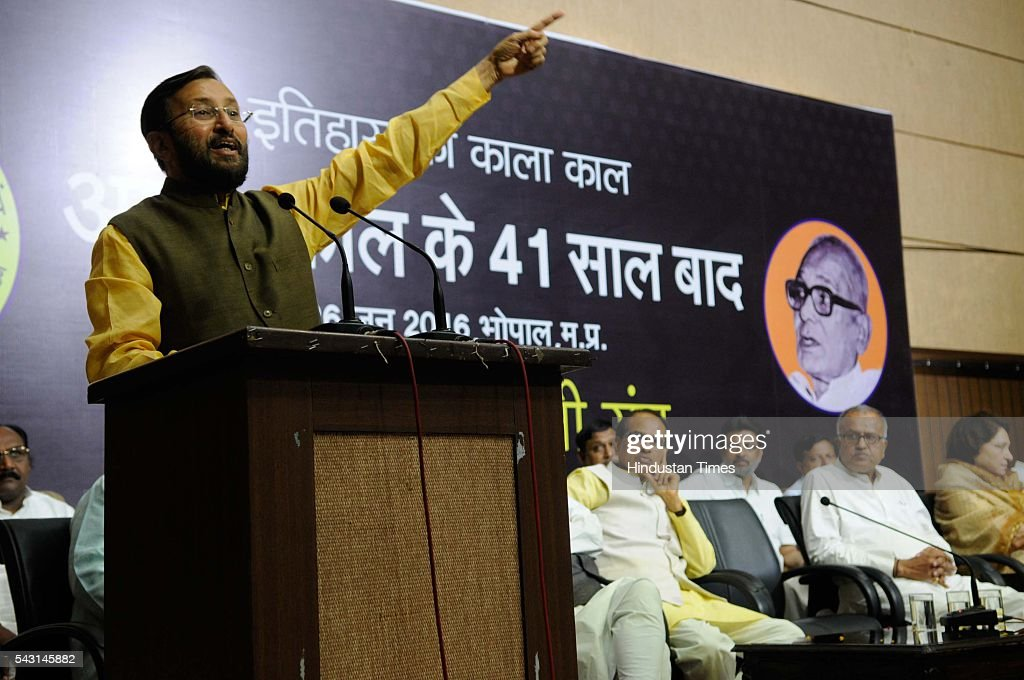 Union Minister of state for Environment and Forest Prakash Javadekar addresses during a programme organised to observe ' Emergency as Black Day' on June 26, 2016 in Bhopal, India.