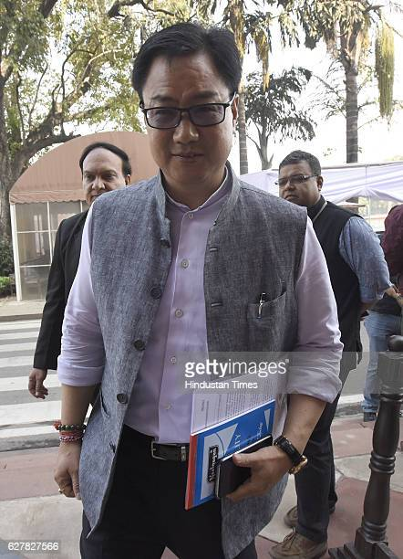 Union Minister of State for Home Affairs Kiren Rijiju arrives for attending the Parliament Winter Session on December 5 2016 in New Delhi India