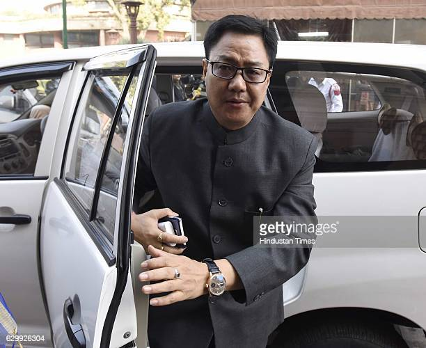 Union Minister of State for Home Affairs Kiren Rijiju during the Parliament Winter Session on December 15 2016 in New Delhi India Speaker Sumitra...