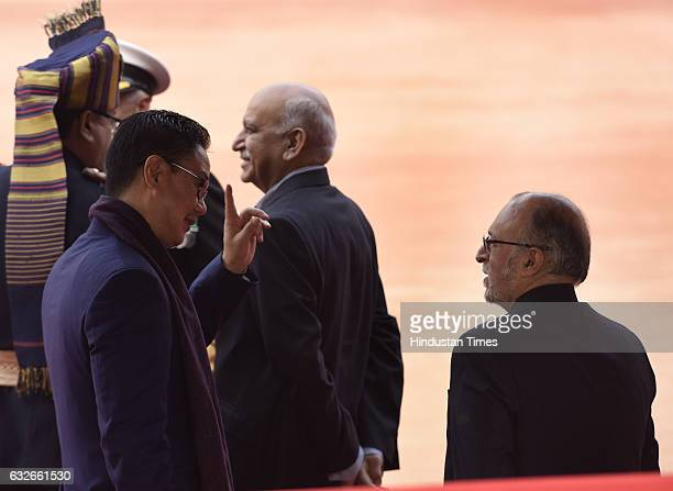 Union Minister of State for Home AffairsKiren Rijiju talking with Lieutenant Governor of Delhi Anil Baijal during the ceremonial reception of...