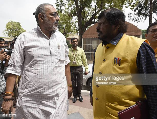 Union Minister of State Micro Small Medium Enterprises Giriraj Singh and Union Minister of State Social Justice Empowerment Ramdas Athawale arrive...