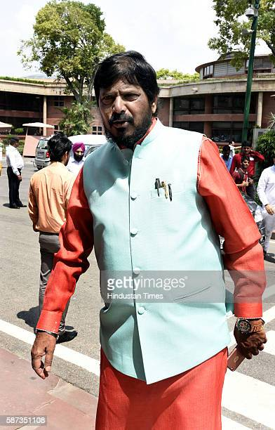 Union Minister of State Social Justice Empowerment Ramdas Athawale arrives for the Parliament Monsoon Session on August 8 2016 in New Delhi India