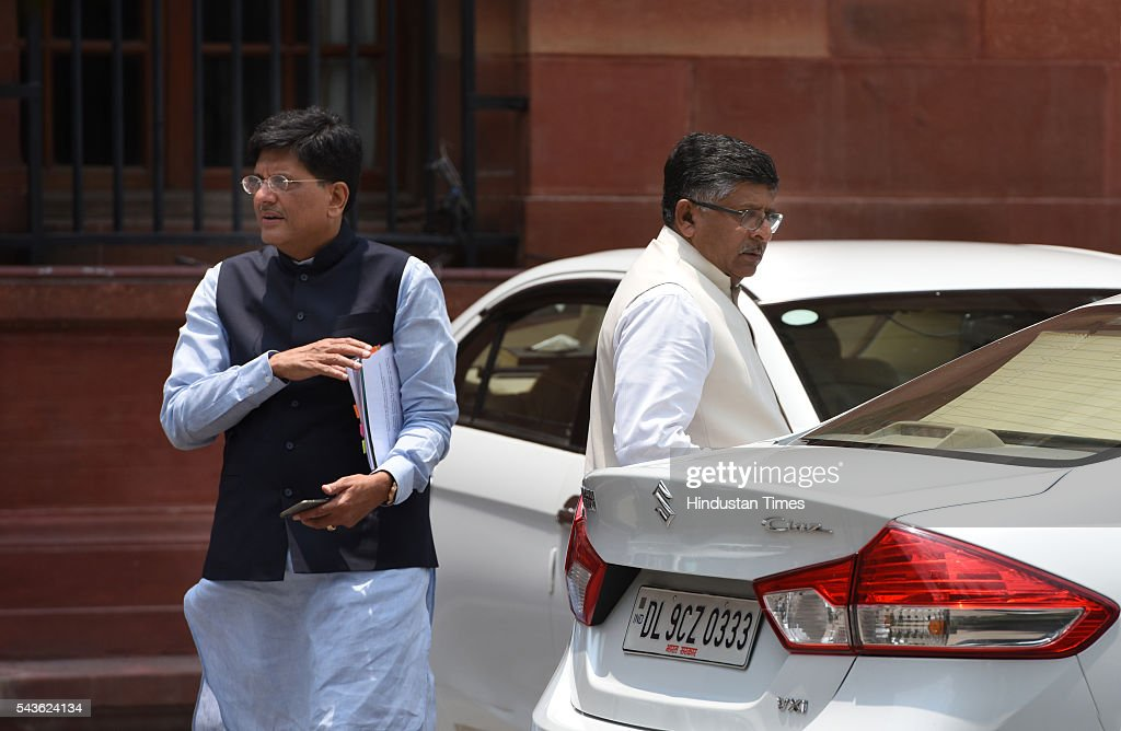 Union Minister Piyush Goel and Ravi Shankar Prasad coming out after attending the Cabinet Meet at South Block, Raisina Hills on June 29, 2016 in New Delhi, India. The Cabinet, headed by Prime Minister Narendra Modi cleared the recommendations of the 7th Pay Commission according to which the overall hike in salary and allowance of central government employees and pensioners comes to 23.5 percent.