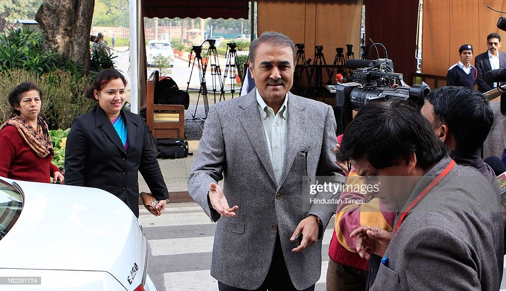 Union Minister Praful Patel at Parliament during the opening day of Budget session on February 21, 2013 in New Delhi, India.