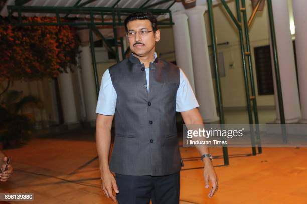 Union Minister Rajyavardhan Singh Rathore during the screening of a biography based on Munda's life a tribute to tribal leader and freedom fighter...