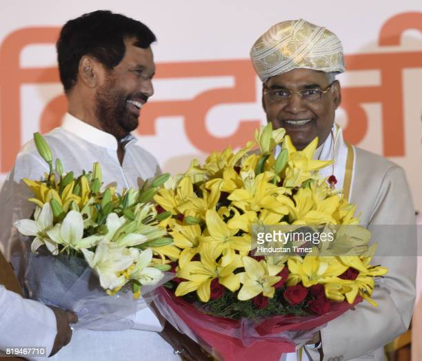 Union Minister Ram Vilas Paswan greets newly elected President of India Ram Nath Kovind after his win in Presidential election at 10 Akbar Road on...
