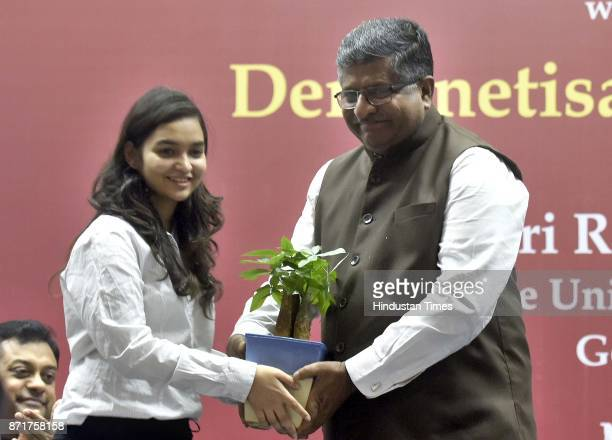 Union Minister Ravi Shankar Prasad at a function on demonetisation and its results as SRCC celebrate AntiCorruption Day on the completion of one year...