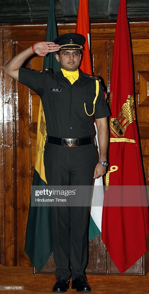 'NEW DELHI, INDIA- SEPTEMBER 6: Union Minister Sachin Pilot saluting after the peeping ceremony where he has given commission as Lieutenant into the Territorial Army (TA) as a regular officer on September 6, 2012 in New Delhi, India. (Photo by Sanjeev Verma/Hindustan Times via Getty Images)'