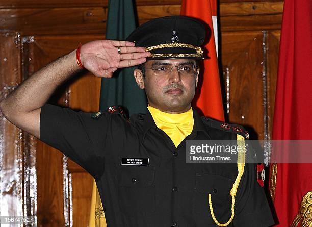 'NEW DELHI INDIA SEPTEMBER 6 Union Minister Sachin Pilot saluting after the peeping ceremony where he has given commission as Lieutenant into the...