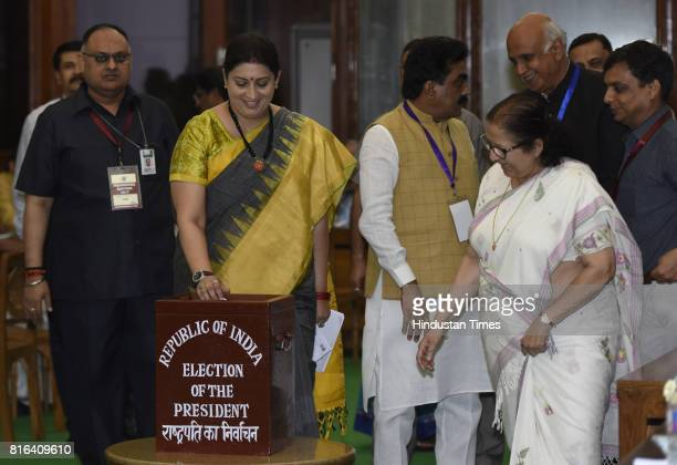 Union Minister Smriti Irani casts her vote during the presidential election at the Parliament House on July 17 2017 in New Delhi India Approx 99...