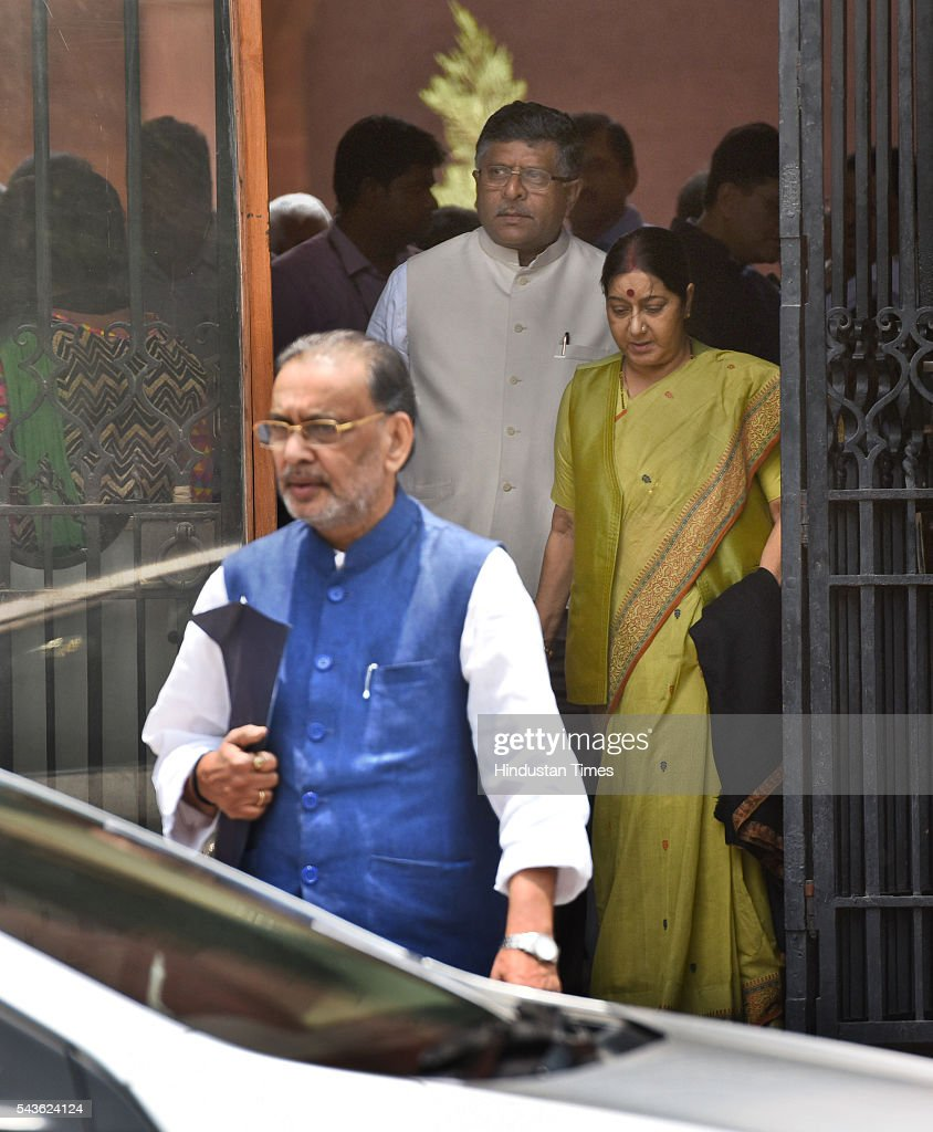 Union Minister Sushma Swaraj, Ravi Shankar Prasad and Radha Mohan Singh coming out after attending the Cabinet Meet at South Block, Raisina Hills on June 29, 2016 in New Delhi, India. The Cabinet, headed by Prime Minister Narendra Modi cleared the recommendations of the 7th Pay Commission according to which the overall hike in salary and allowance of central government employees and pensioners comes to 23.5 percent.