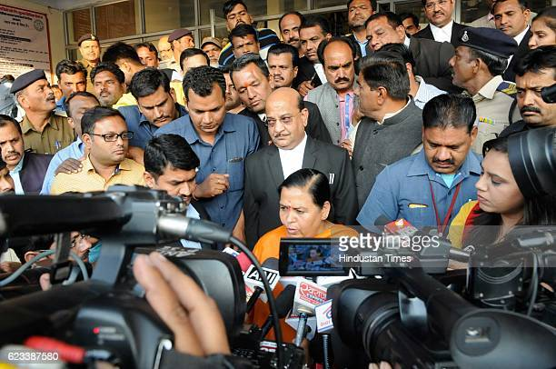 Union Minister Uma Bharti addressing media at Bhopal District Court after appearing in a defamation case filed by former Chief Minister and Congress...
