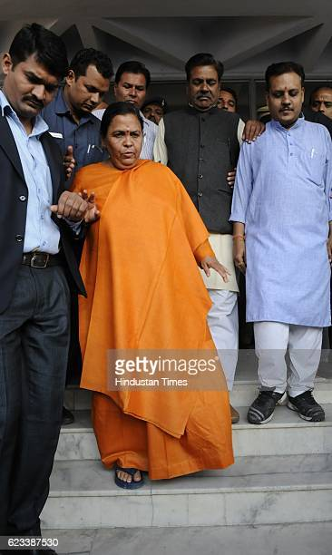 Union Minister Uma Bharti coming out of Bhopal District Court after appearing in a defamation case filed by former Chief Minister and Congress leader...