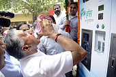 Union Minister VK Singh inaugurated five water ATMs setup by a private organization on July 23 2016 in Ghaziabad India The residents of Khoda face...