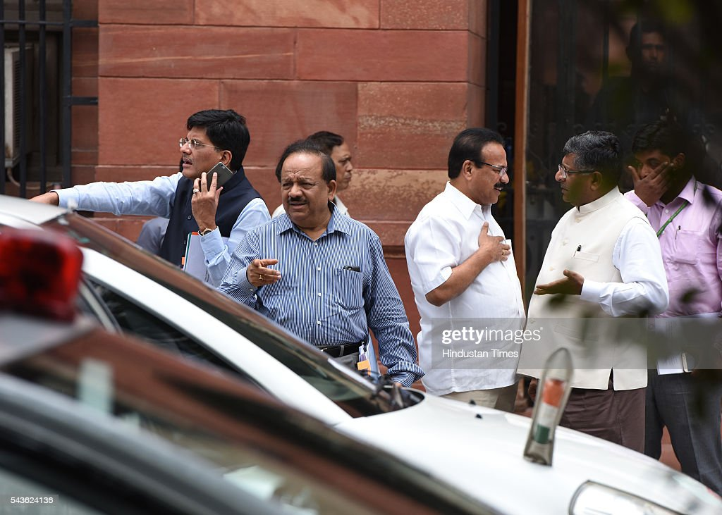 Union Ministers DV Sadananda Gowda, Piyush Goyal, Ravi Shankar Prasad and Harsh Vardhan after a Cabinet meeting at South Block coming out after attending the Cabinet Meeting at South Block , Raisina Hills on June 29, 2016 in New Delhi, India. The Cabinet, headed by Prime Minister Narendra Modi cleared the recommendations of the 7th Pay Commission according to which the overall hike in salary and allowance of central government employees and pensioners comes to 23.5 percent.