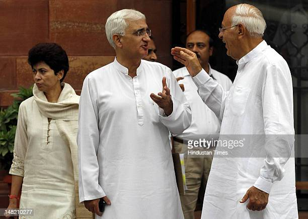 Union ministers Farooq Abdullah Kumari Selja and Salman Khurshid departs after a cabinet meeting at South Block on July 12 2012 in New Delhi India...