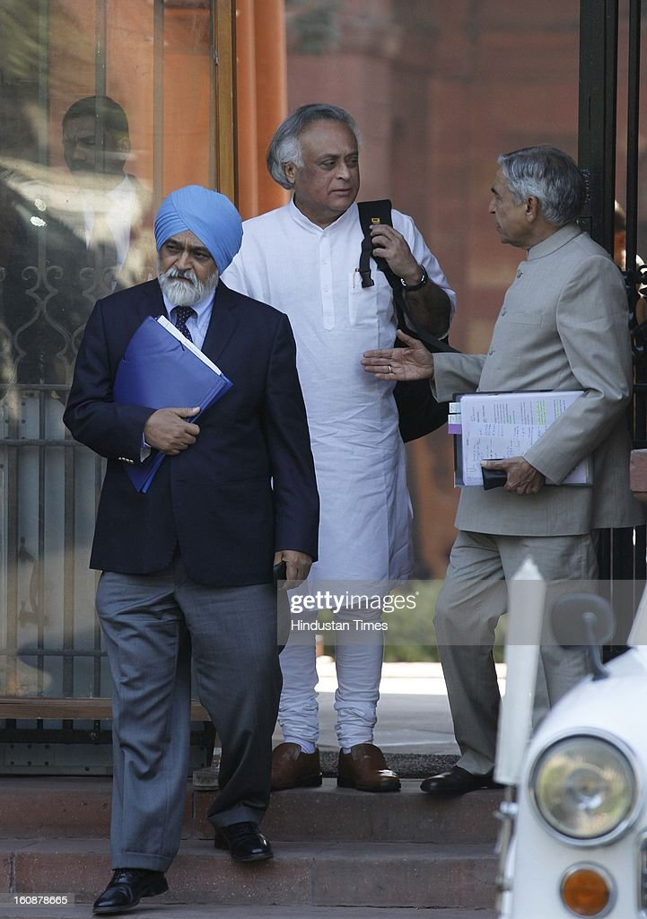Union ministers Jairam Ramesh, PK Bansal and Deputy Chairman of Planning Commission, Montek Singh Ahluwalia after a Cabinet meeting at South Block on February 7, 2013 in New Delhi, India.