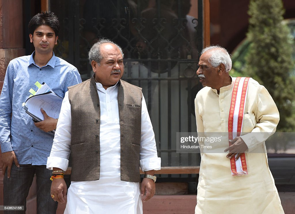 Union Ministers NS Tomar and Bandaru Dattatreya coming out after attending the cabinet meeting at South Block, Raisina Hills on June 29, 2016 in New Delhi, India. The Cabinet, headed by Prime Minister Narendra Modi cleared the recommendations of the 7th Pay Commission according to which the overall hike in salary and allowance of central government employees and pensioners comes to 23.5 percent.