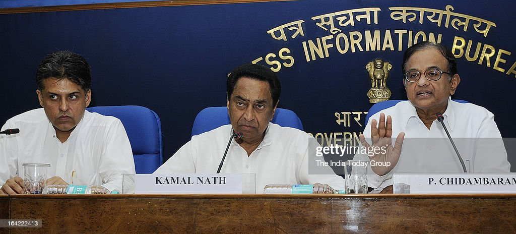 Union Ministers P. Chidambaram, Kamal Nath and Manish Tewari addressed a joint press conference on March 20, 2013 over concerns raised by various Tamil parties and the stability of the government in the wake of withdrawal of support by the DMK.