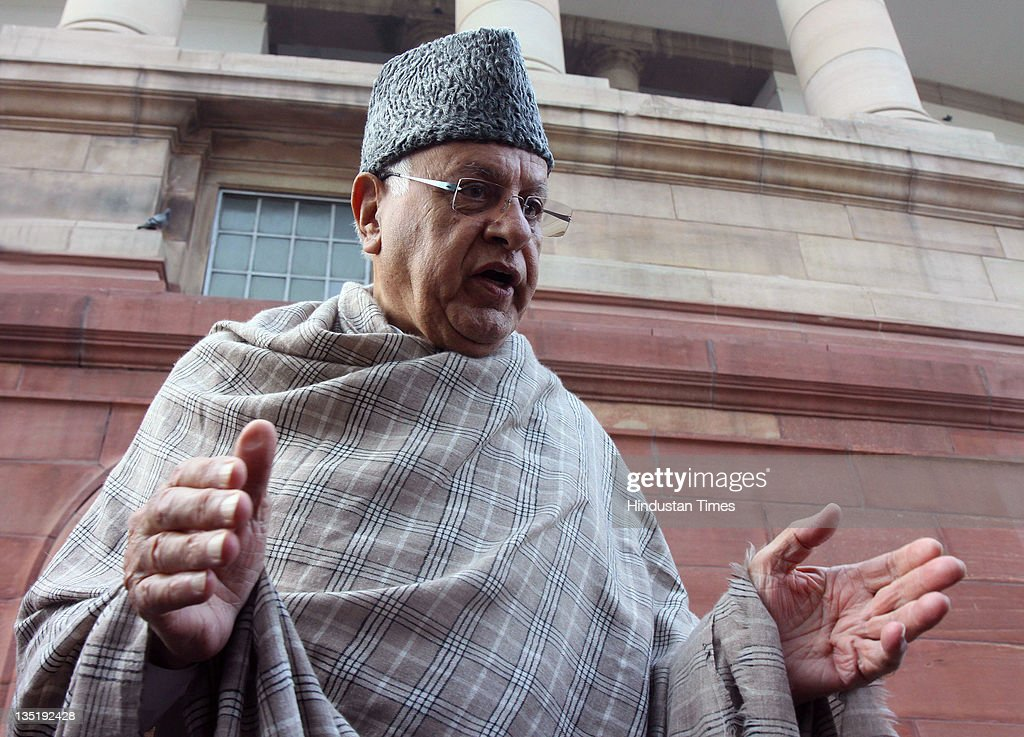 Union New and Renewable Energy Minister <a gi-track='captionPersonalityLinkClicked' href=/galleries/search?phrase=Farooq+Abdullah&family=editorial&specificpeople=2291127 ng-click='$event.stopPropagation()'>Farooq Abdullah</a> speaks after attending the all-party meeting on the issue of Foreign Direct Investment (FDI) in the retail sector during the Parliament winter session at Parliament House on December 7, 2011 in New Delhi, India. During the all-party meeting a resolution was passed to suspend and delay the government's decision on foreign direct investment until a consensus among stakeholders has been achieved.
