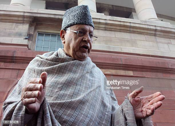 Union New and Renewable Energy Minister Farooq Abdullah speaks after attending the allparty meeting on the issue of Foreign Direct Investment in the...
