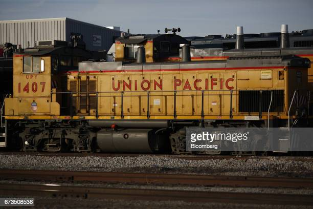 A Union Pacific Corp yard switching locomotive sits parked at an engine terminal in East St Louis Illinois US on Tuesday April 25 2017 Union Pacific...