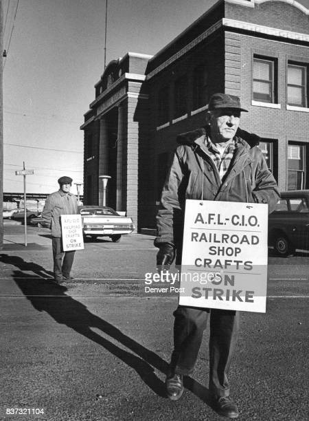 Union Pacific Facility in Denver Picketed W R Goodson walked the picket line in front of the Union Pacific Freight Depot 19th and Wynkoop Sts Denver...