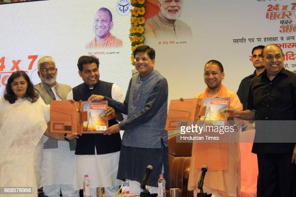 Union power minister Piyush Goyal after the signing of an MoU in the presence of Uttar Pradesh chief minister Yogi Adityanath deputy chief minister...