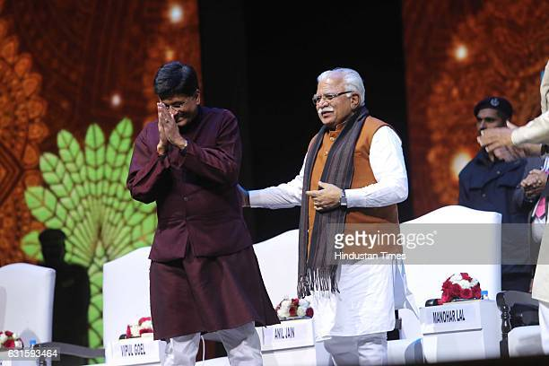 Union Power Minister Piyush Goyal and Haryana CM Manohar Lal Khattar during the first Pravasi Haryana Divas organised by Government of Haryana with...