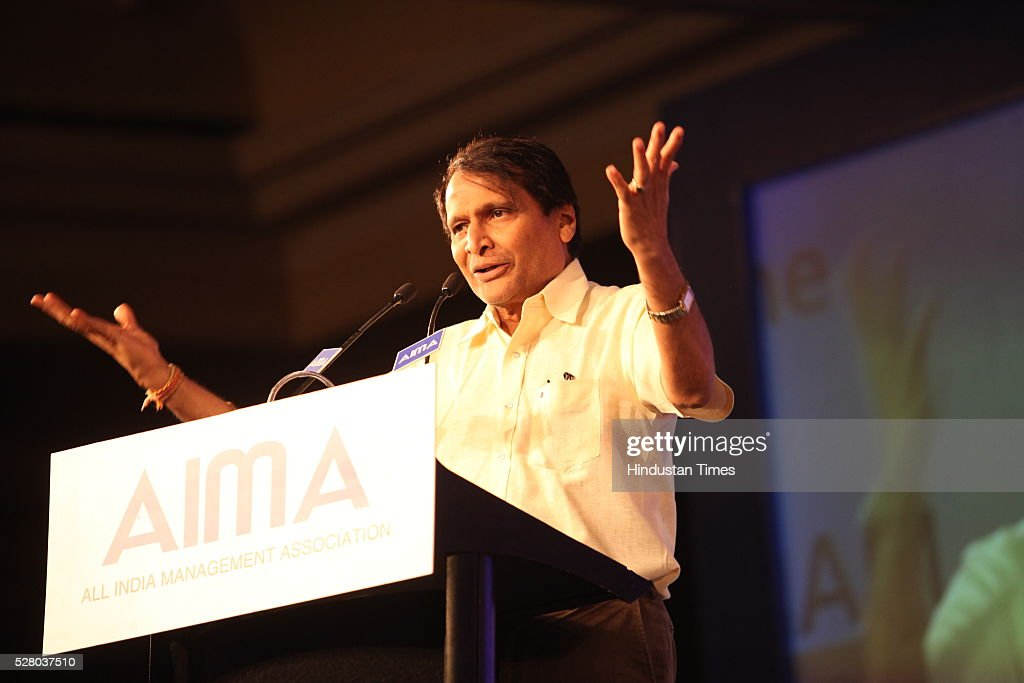 Union Railway Minister Suresh Prabhu during the All India Management Association (AIMA)s Managing India Awards 2016 at Hotel Taj Palace in New Delhi, India.