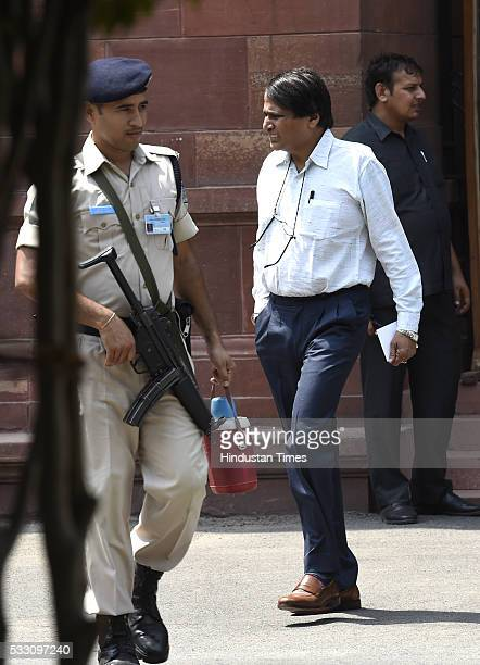 Union Railways Minister Suresh Prabhu after Cabinet Meeting at Prime Minister's Office South Block on May 20 2016 in New Delhi India The Centre today...