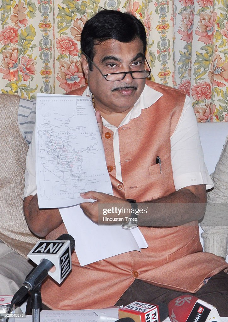 Union Road Transport and Highways Minister Nitin Gadkari interact with media at on May 6, 2016 in Dharamsala, India. Gadkari announced that 18 roads in Himachal Pradesh to be made National Highways.