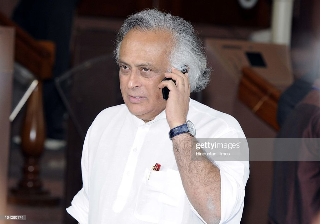 Union rural development minister Jairam Ramesh after attending Parliament budget session on March 21, 2013 in New Delhi, India. Anti-Rape law was passed in Rajya Sabha after it got passed in Lok Sabha two days ago.