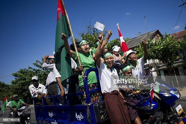 Union Solidarity and Development Party party supporters participate in an election campaign rally in Pyu township of Bago region Myanmar on November...