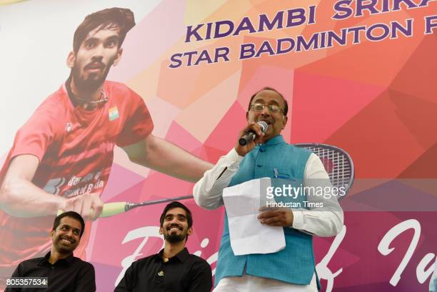 Union Sports Minister Government of India Vijay Goel speaks at the felicitaion of Indian Badminton Player Srinkanth Kidambi and Chief National Coach...